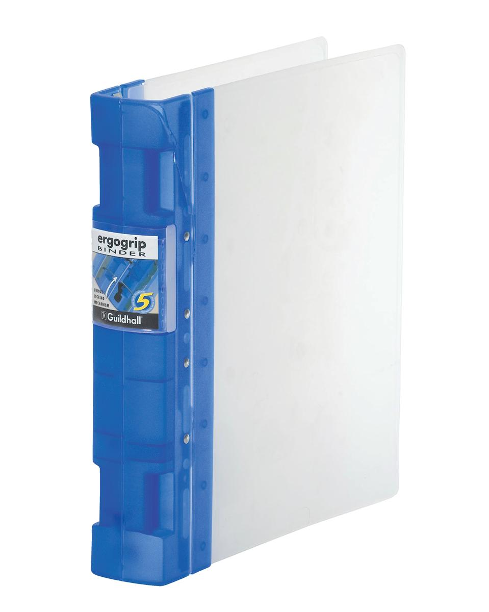 Image for Guildhall GLX Ergogrip Binder Capacity 400 Sheets 4x 2 Prong 55mm A4 Frost Cobalt Blue Ref 4542 [Pack 2]