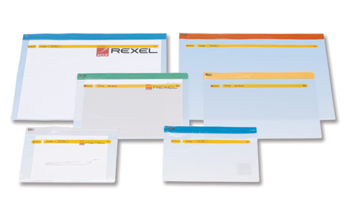 Image for Rexel Active Zip Bag Heavyweight PVC Clear with Coloured Seal A4 Assorted Ref A4 [Pack 30]