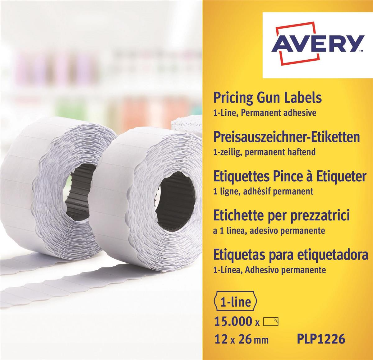 Image for Avery Labels for Labelling Gun 1-Line Permanent White 12x26mm 1500 Per Roll Ref PLP1226 [Pack 10]