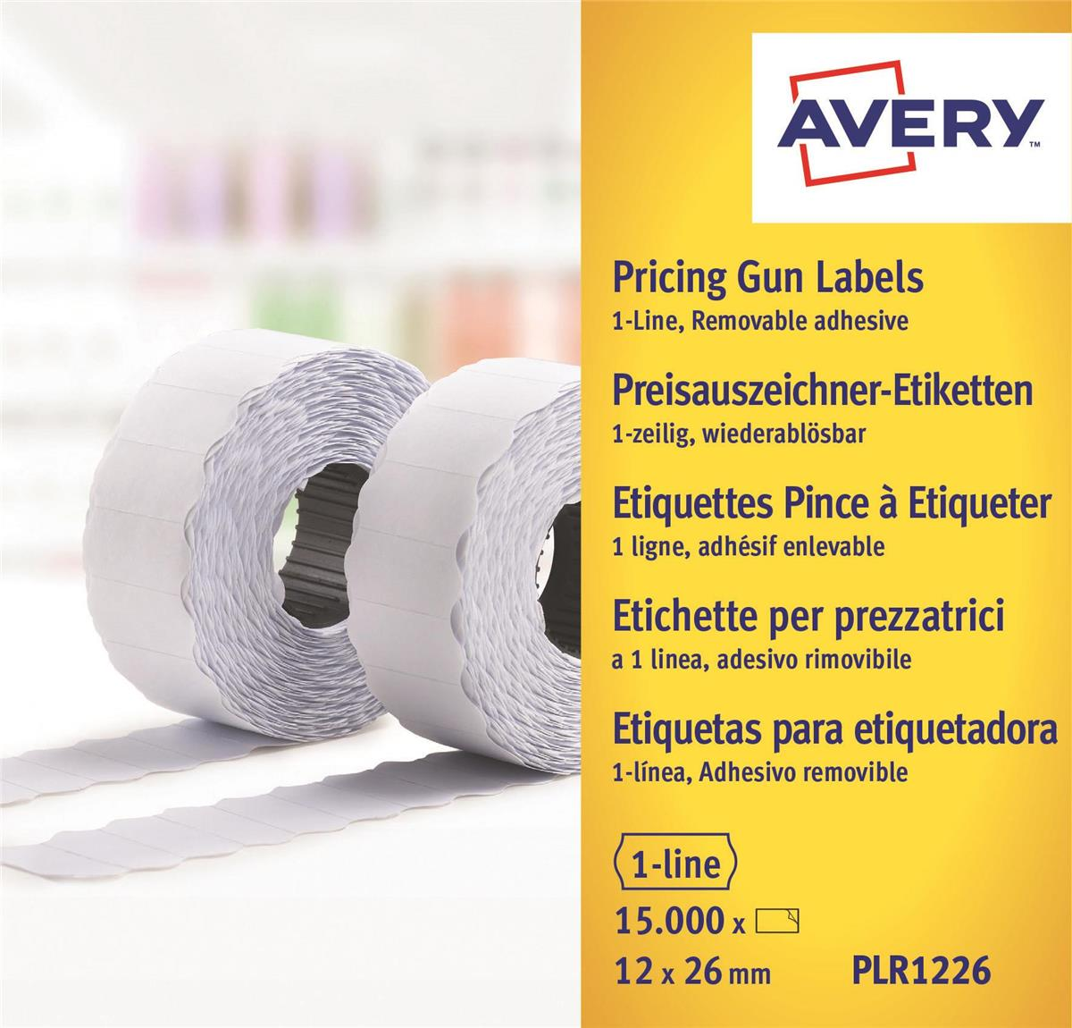 Image for Avery Labels for Labelling Gun 1-Line Removable White 12x26mm 1500 per Roll Ref PLR1226 [Pack 10]