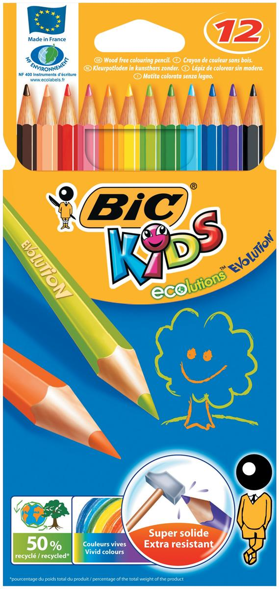 Image for Bic Kids Evolution Pencils Colour Splinter-proof Wood-free Vivid Assorted Ref 829029 [Wallet 12]