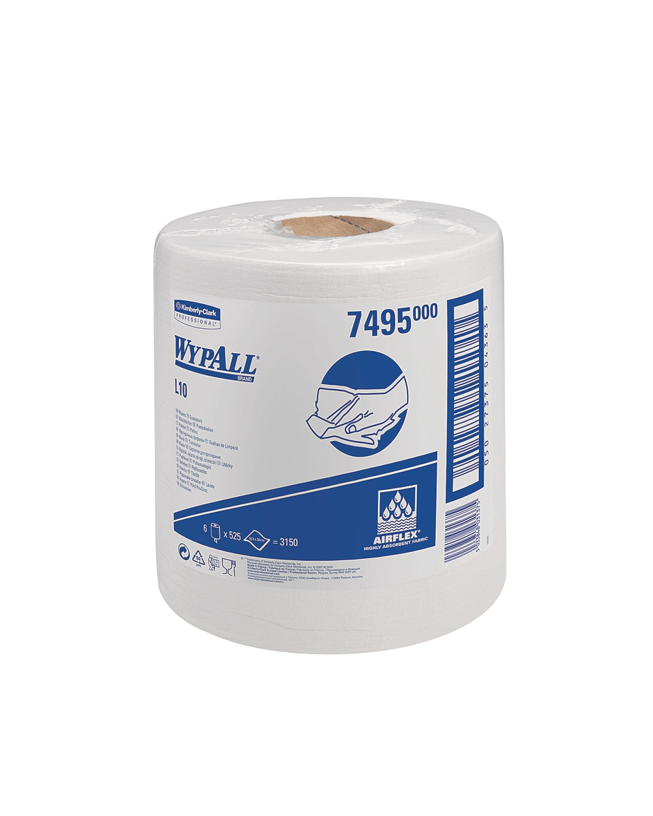 Wypall L10 Wipers Centrefeed Airflex 525 Sheets per Roll 185x380 White Ref 7495 [Pack 6]