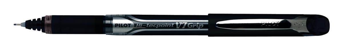 Pilot V7 Rollerball Pen Rubber Grip Needle Point 0.7mm Tip 0.4mm Line Black Ref BXGPNV701 [Pack 12]