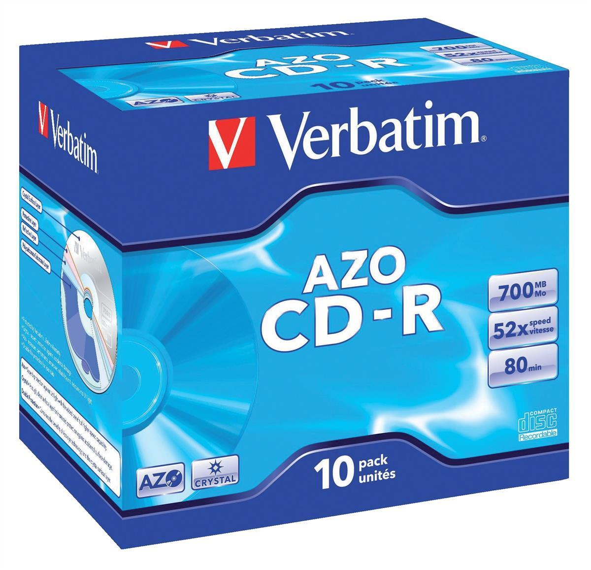 Image for Verbatim CD-R Recordable Disk Write-once Cased 52x Speed 80 Min 700Mb Ref 43327 [Pack 10]