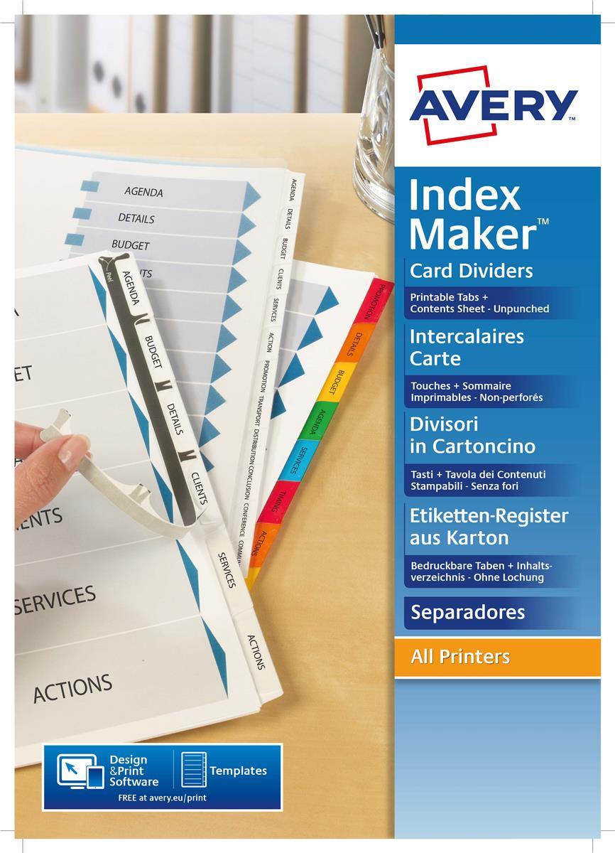 Image for Avery IndexMaker Divider Set Unpunched A4 5-Part Ref 01814061