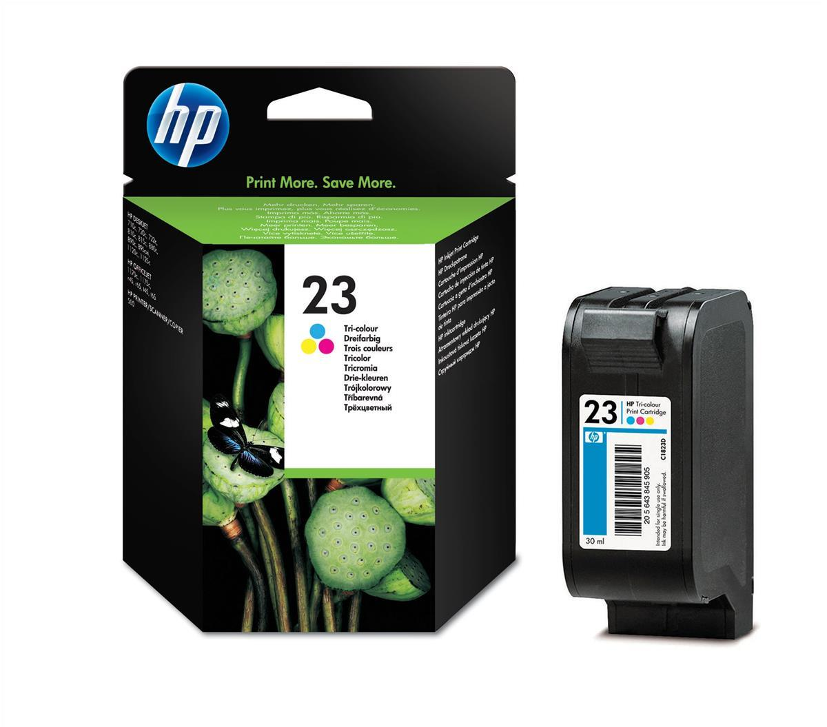Hewlett Packard [HP] No. 23 Inkjet Cartridge Page Life 620pp 30ml Colour Ref C1823D