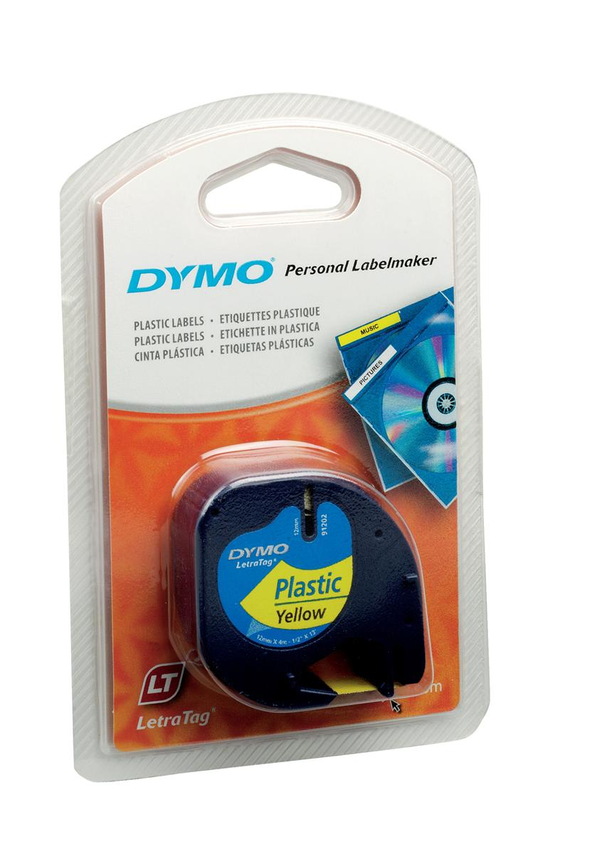 Image for Dymo LetraTag Tape Plastic 12mmx4m Hyper Yellow Ref 91202 S0721620