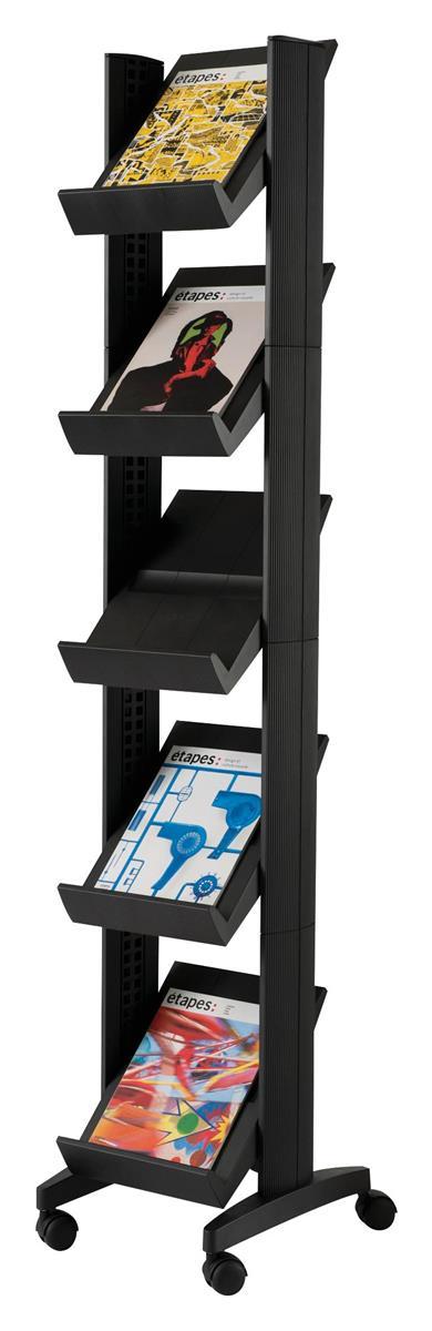 Image for Fast Paper Literature Display Corner Mobile 5 Shelves 35mm Lip Black Ref 259N.01