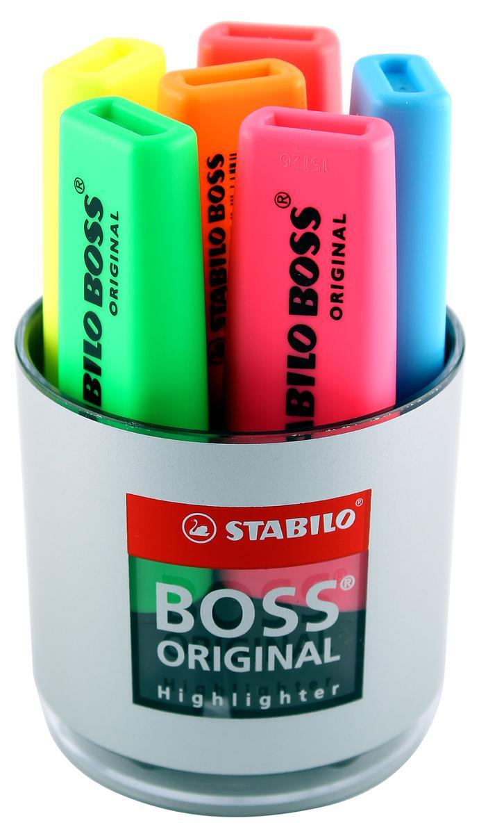 Stabilo Boss Desk Set of Six Highlighters in Pot Assorted Ref 7006