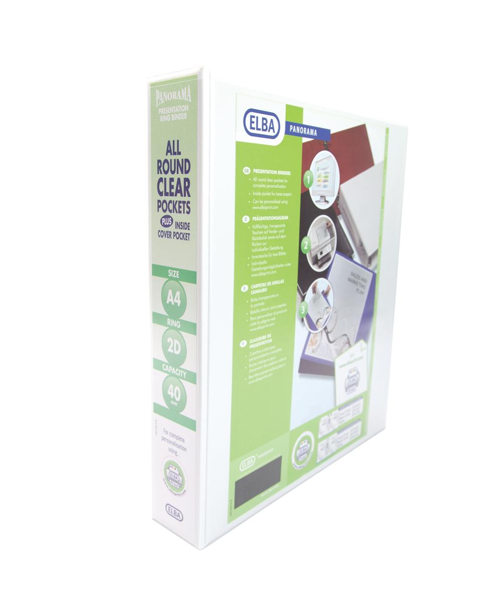 Image for Elba Panorama Presentation Ring Binder PVC 2 D-Ring 40mm Capacity A4 White Ref 400008505 [Pack 6]