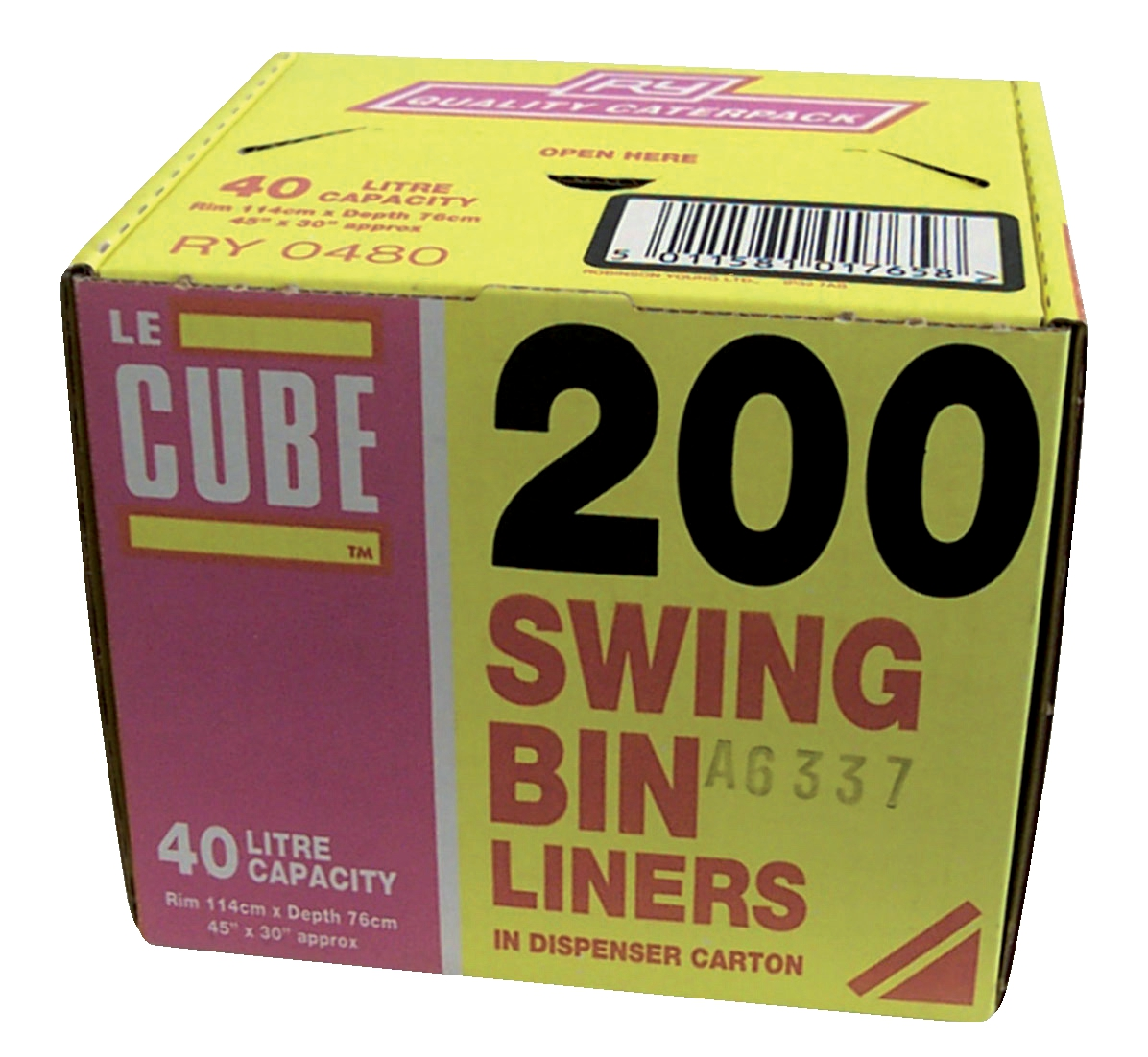 Le Cube Swing Bin Liners in Dispenser Box 46 Litre Capacity 1140x570mm Black Ref 02184 [Pack 200]