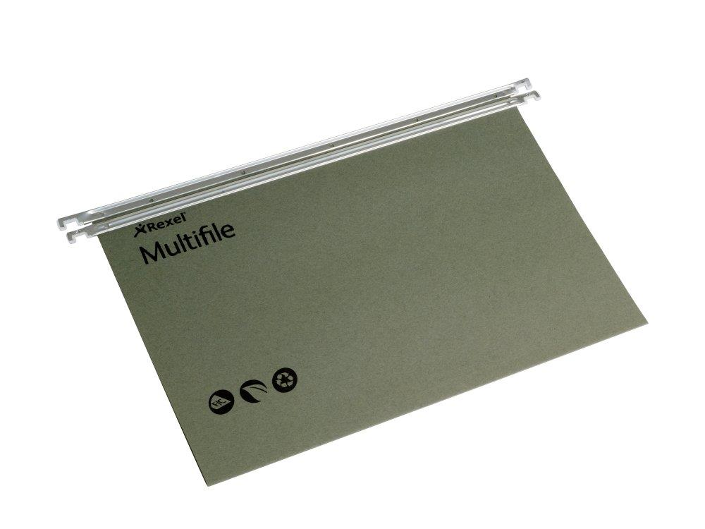 Image for Multifile Suspension File Heavyweight Manilla with Tabs and Inserts Foolscap Green Ref 78008 [Pack 50]