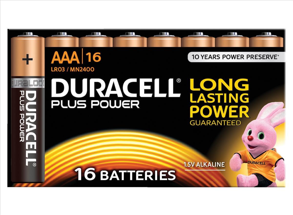 Duracell Plus Power Battery Alkaline 1.5V AAA Ref 81275409 [Pack 16]
