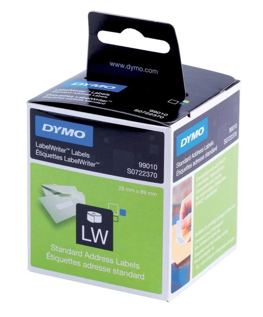 Dymo Labelwriter Labels Standard Address 28x89mm White Ref 99010 S0722370 [Pack 2x130]