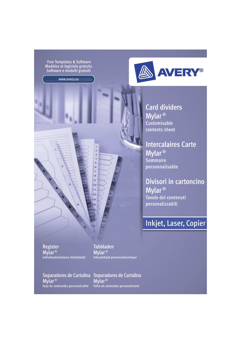 Image for Avery Index Unpunched 1-15 White A4 Ref 05241061 [Pack 5]