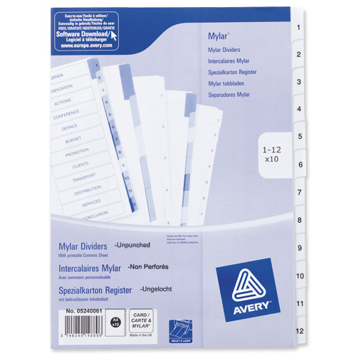 Image for Avery Index Unpunched 1-12 White A4 Ref 05240061 [Pack 10]