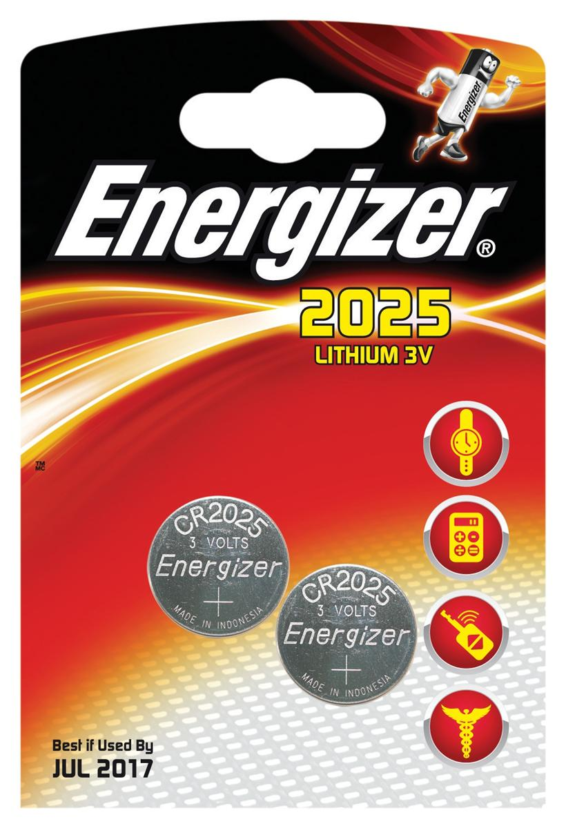 Energizer CR2025 Battery Lithium for Small Electronics 5003LC 163mAh 3V Ref 637988 [Pack 2]