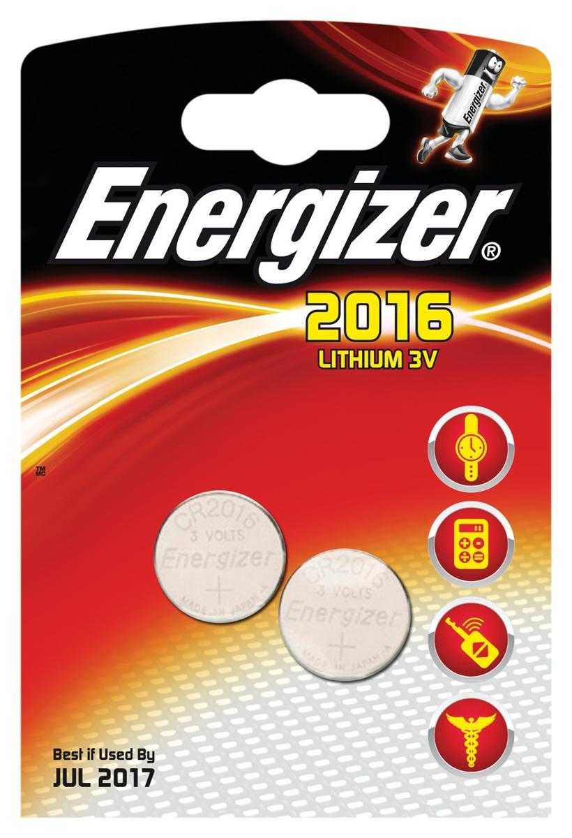 Image for Energizer CR2016 Battery Lithium for Small Electronics 5000LC 90mAh 3V Ref 626986 [Pack 2]