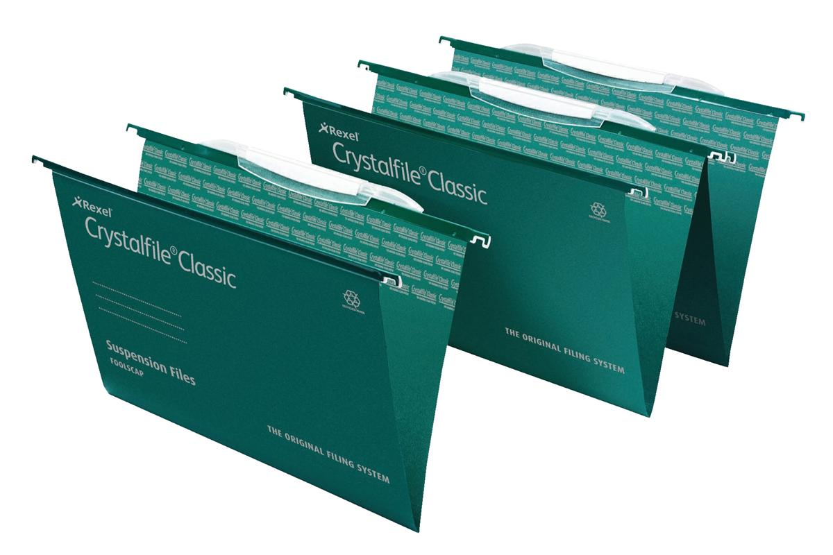Rexel Crystalfile Classic Suspension File with Link Tabs V-base Foolscap Ref 3000030 [Pack 50]