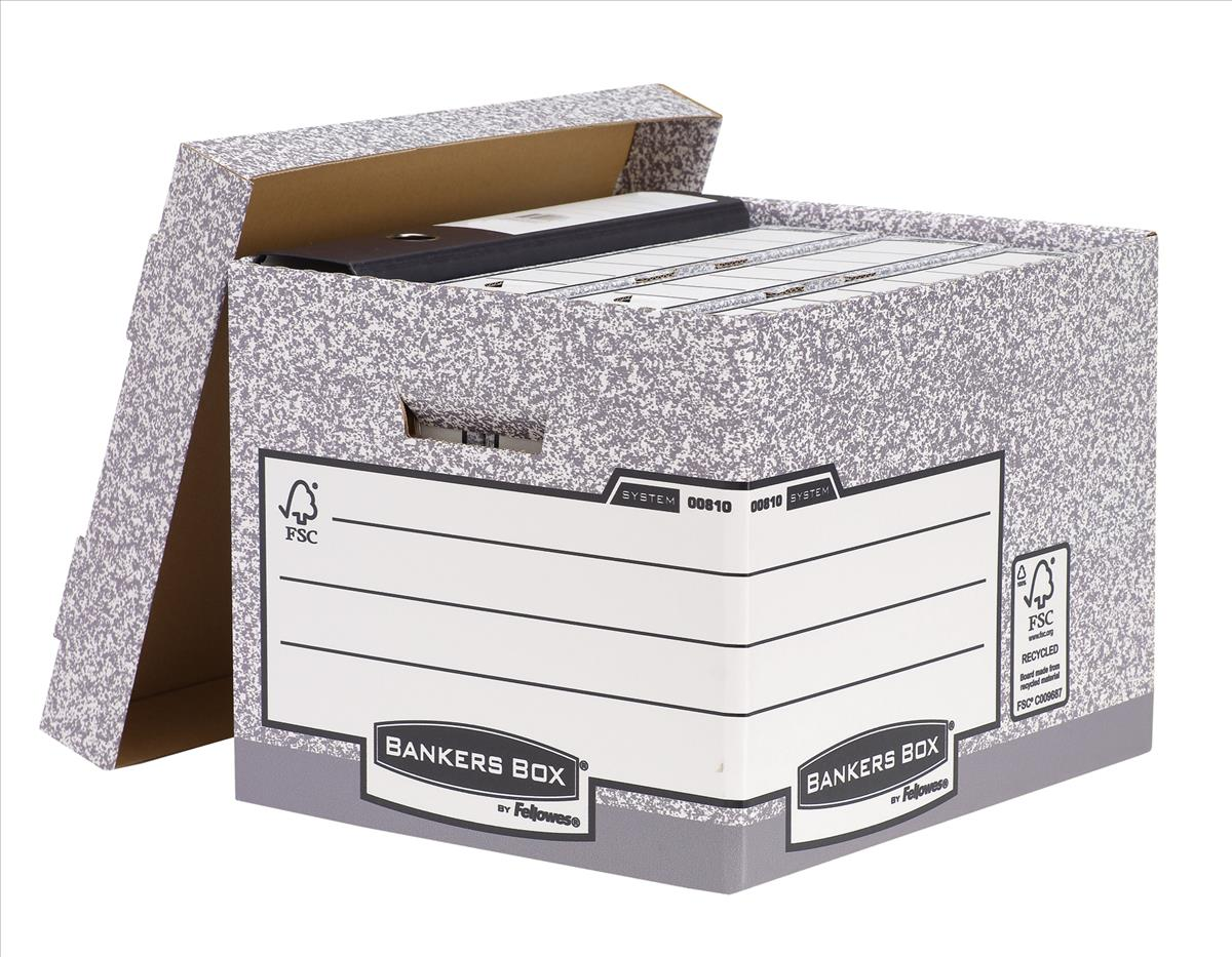 Image for Bankers Box by Fellowes System Standard Storage Box Foolscap W333xD390xH285mm Ref 00810-FF [Pack 10]