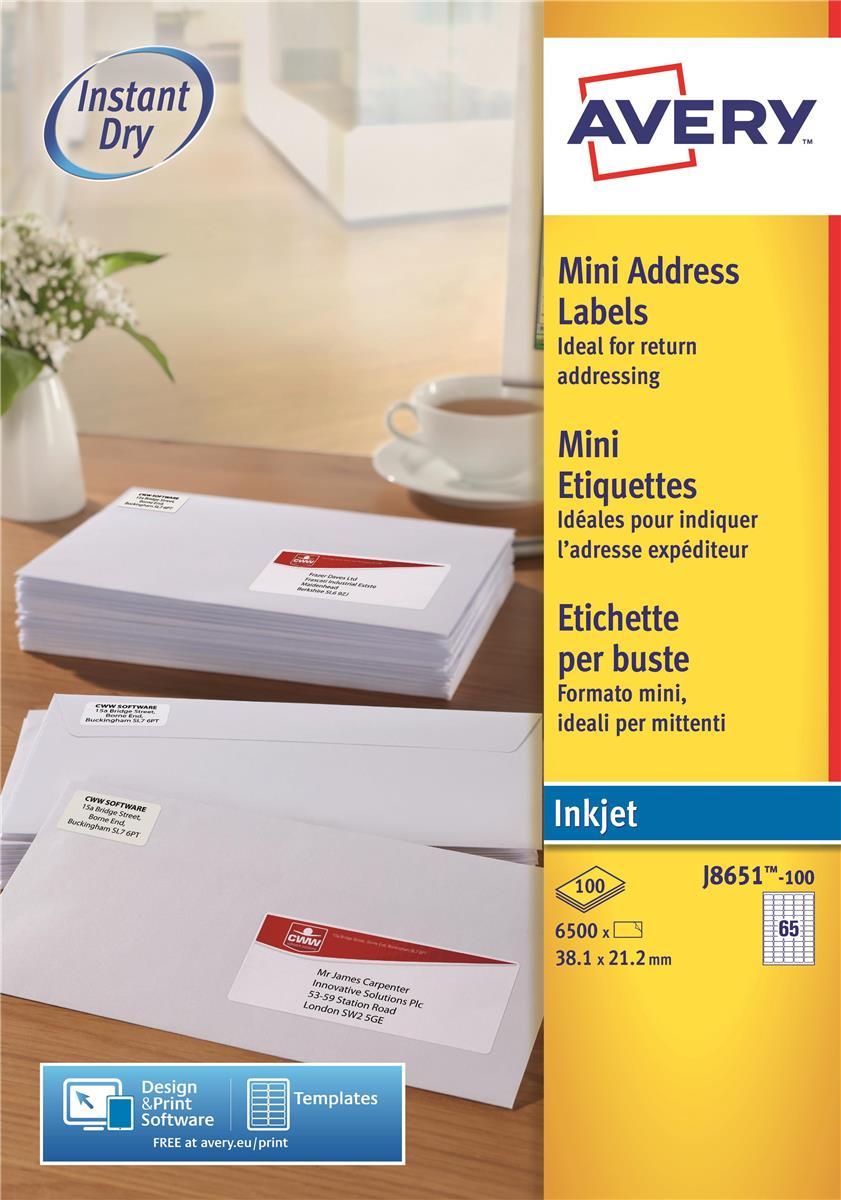 Image for Avery Mini Labels Inkjet 65 per Sheet 38.1x21.2mm White Ref J8651-100 [6500 Labels]