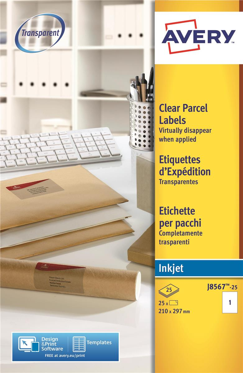 Image for Avery Clear Addressing Labels 1 per Sheet 210x297mm Ref J8567-25 [25 Labels]