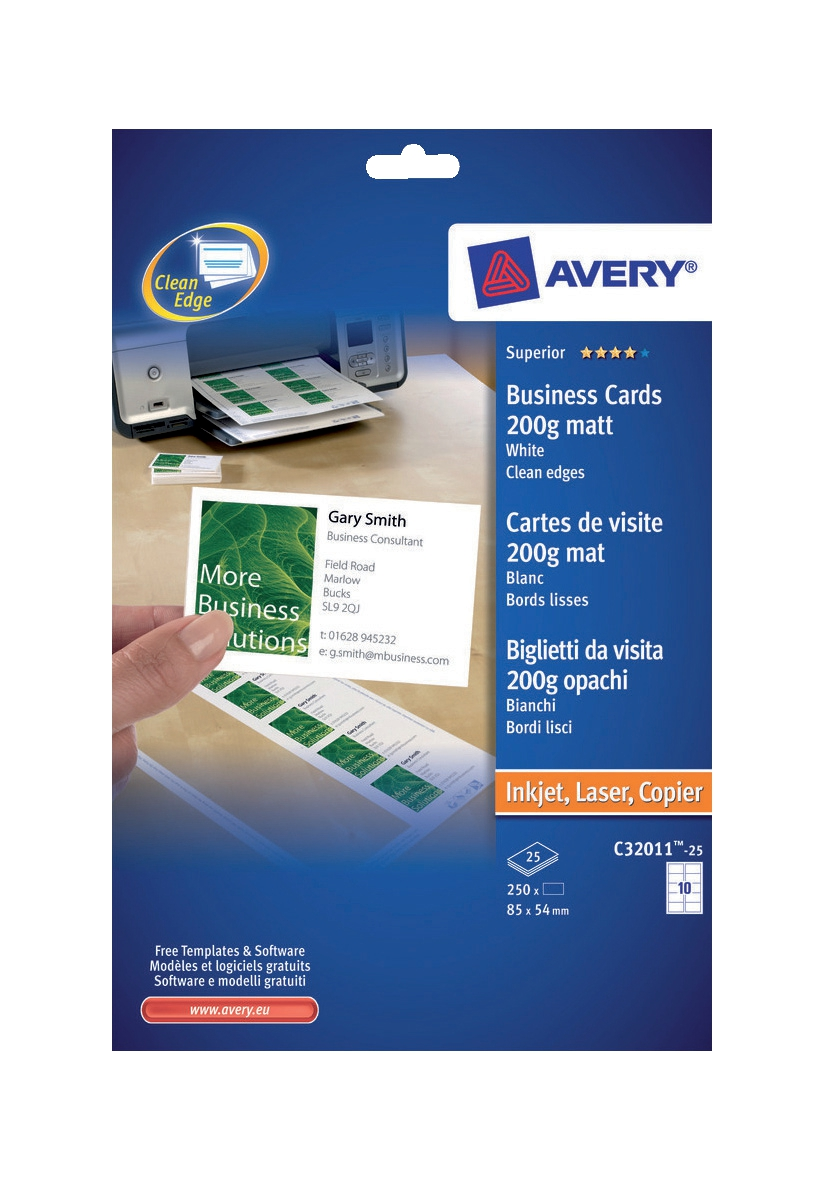 Image for Avery Quick and Clean Business Cards Laser 200gsm 10 per Sheet White Ref C32011-25UK [250 Cards]