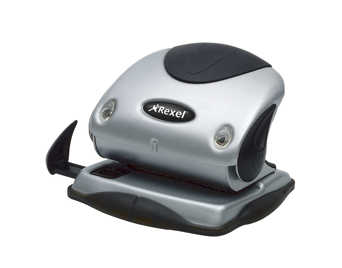 Image for Rexel P215 Punch 2-Hole with Nameplate Capacity 15x 80gsm Silver and Black Ref 2100738