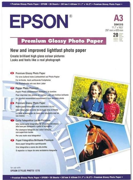 Image for Epson Premium Photo Paper Glossy 255gsm A3 Ref S041315 [20 Sheets]