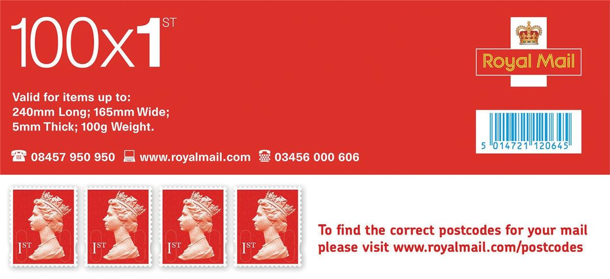 Image for Royal Mail First Class Stamps [Pack 100]