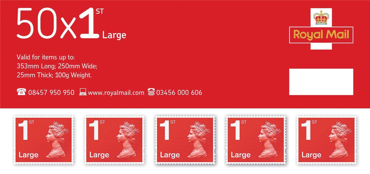 Image for Royal Mail First Class Large Letter Stamps [Pack 50]