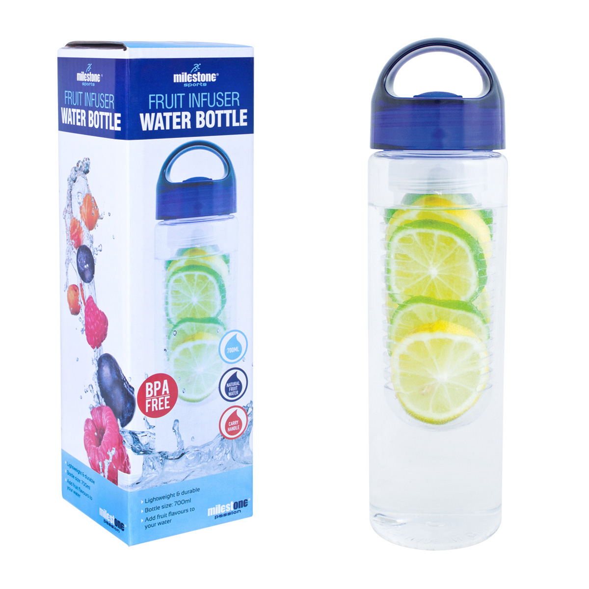 Domestic disposable cups or glasses or lids Milestone Infuser Water Bottle 750ml Ref 0303025