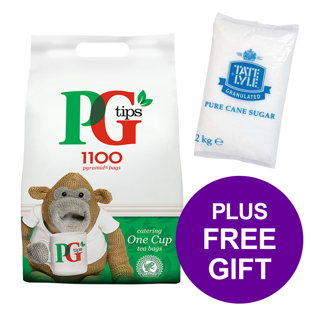 PG Tips 1100 Tea Bags Pyramid 1 Cup Ref 17948501 [Pack 2] [FREE Granulated Sugar Bag 2kg] Apr-Jun 2019