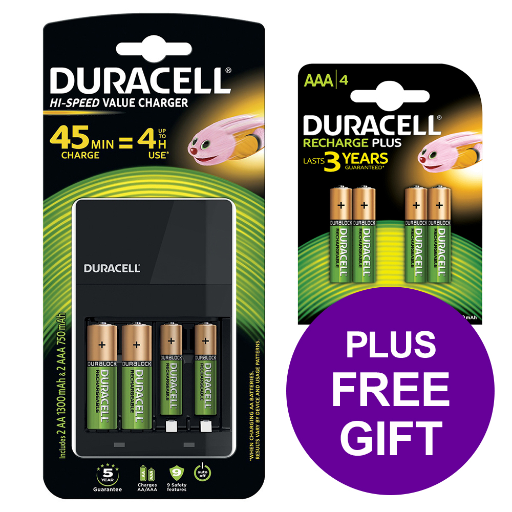 Duracell Battery Charger Hi Speed for AA/AAA Ref 81528873 FREE AAA Battery Pack 4 Apr-Sep 2019