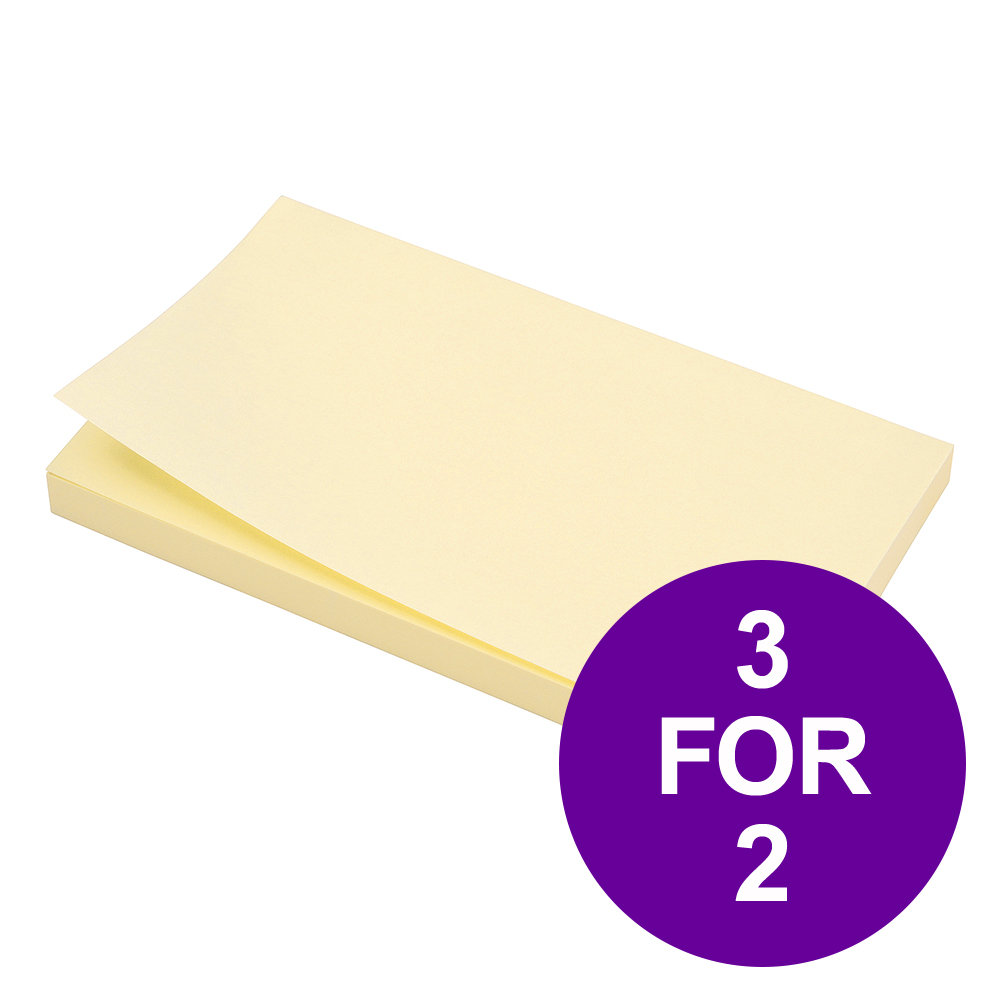 5 Star Office Extra Sticky Re-Move Notes Pad of 90 Sheets 76x127mm Yellow [Pack 12] [3 For 2] Apr 2019