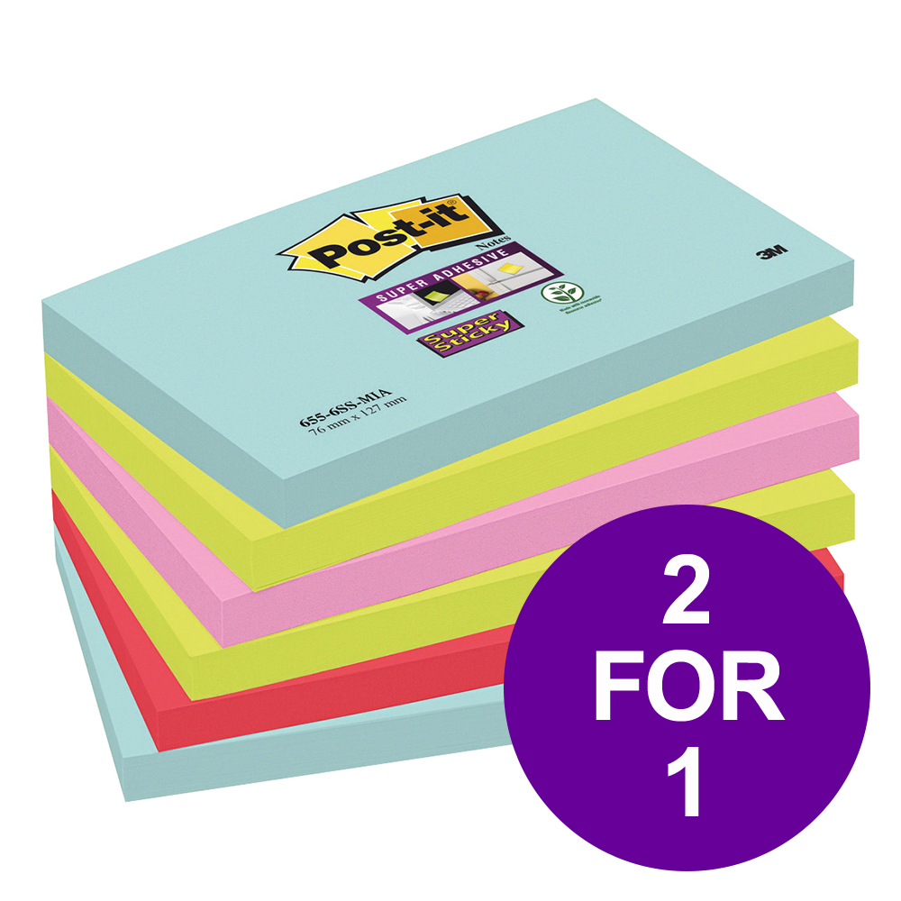 Post-It Super Sticky Notes Miami 76x127mm Bright Colours Ref 655-6SS-MIA [Pack 6] [2 For 1] Apr-Jun 2019