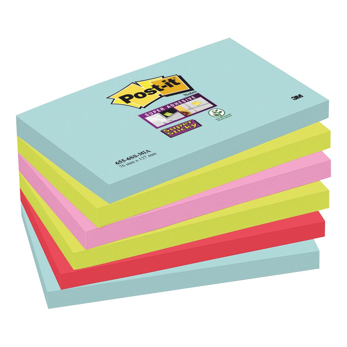 Post-It Super Sticky Notes Miami 76x127mm Bright Colours Ref 655-6SS-MIA Pack 6 2 For 1 Apr-Jun 2019