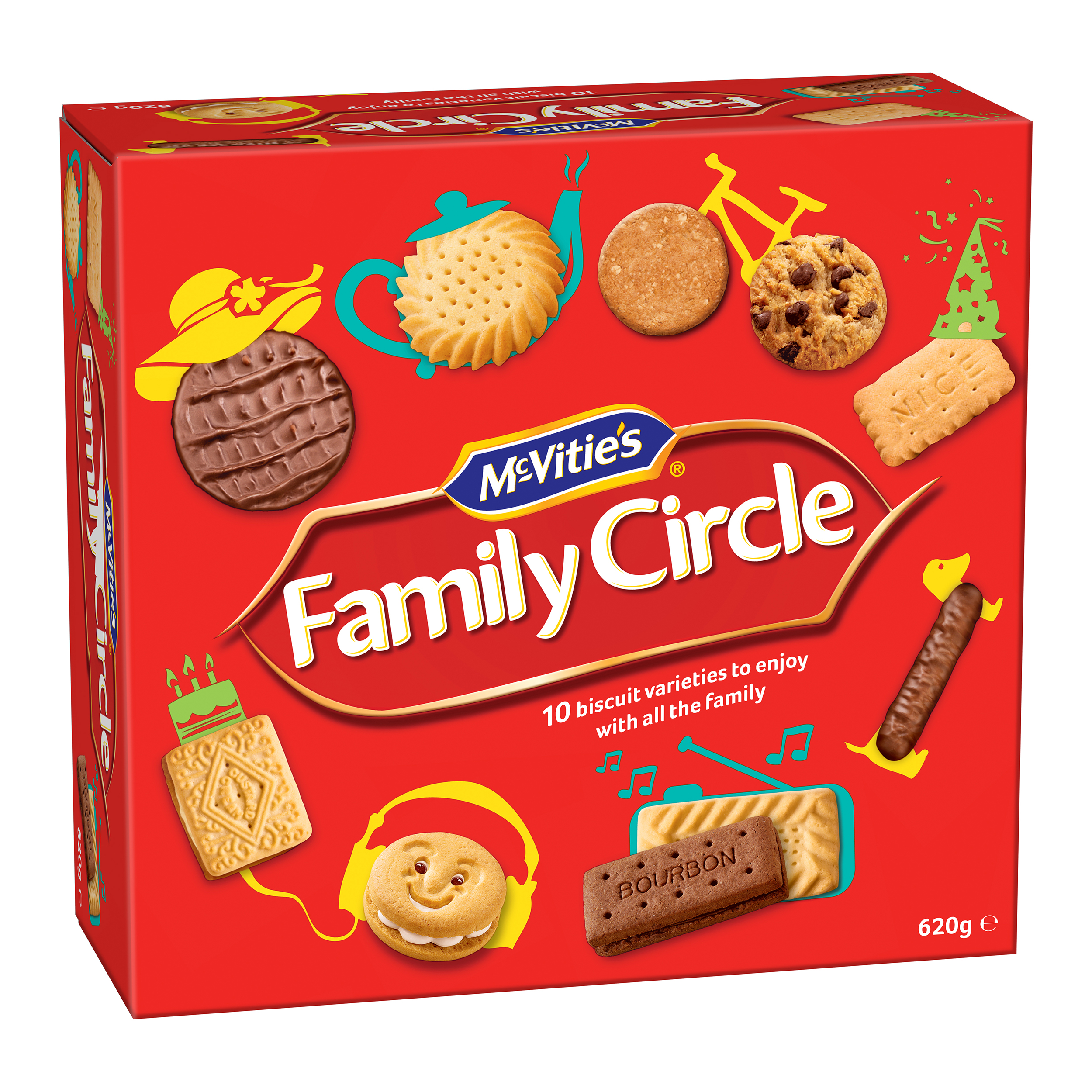 McVities Family Circle Biscuits Re-sealable Box 10 Varieties 620g Assorted Ref 0401200