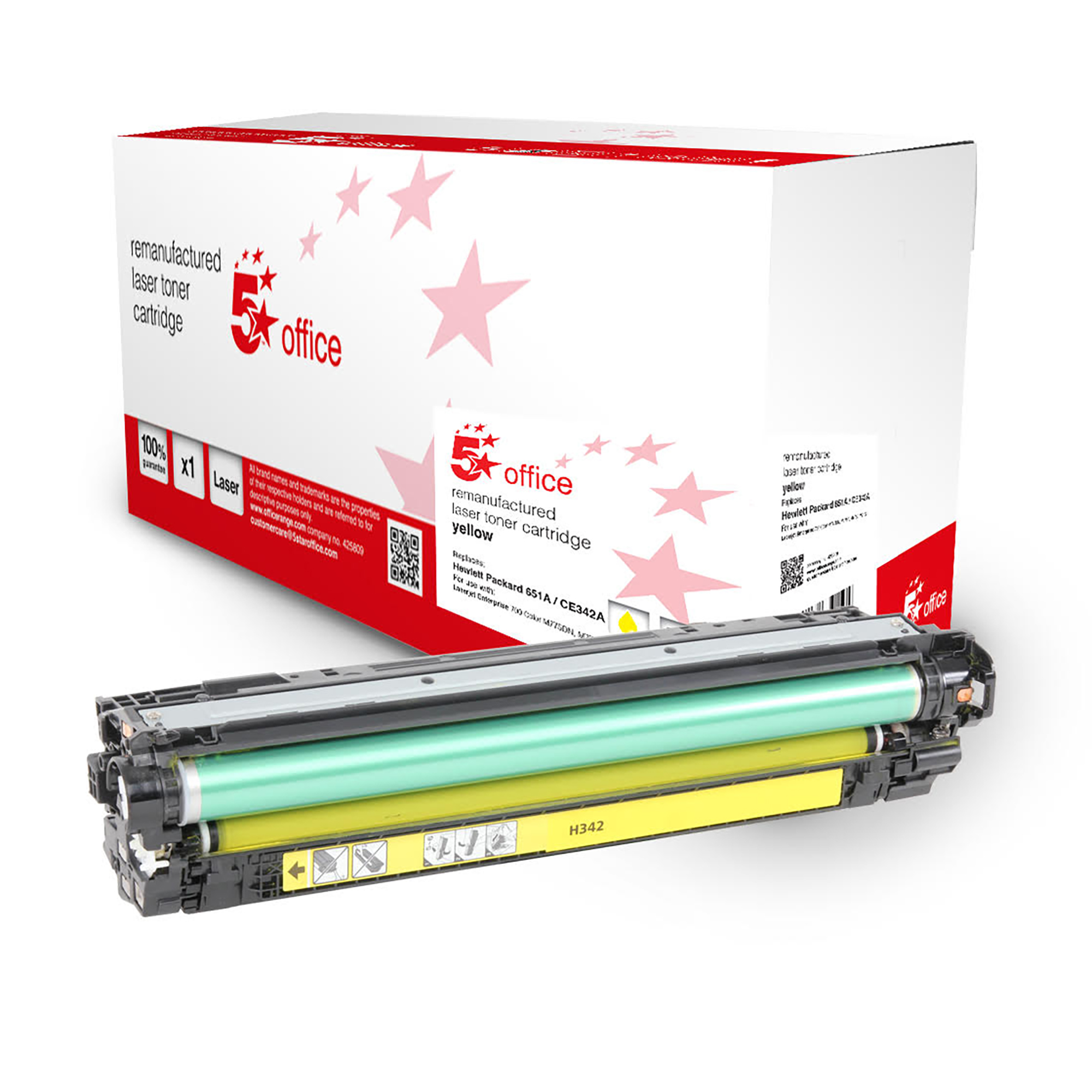 5 Star Office Remanufactured Toner Cartridge Page Life 16000pp Yellow HP 651A Alternative CE342A