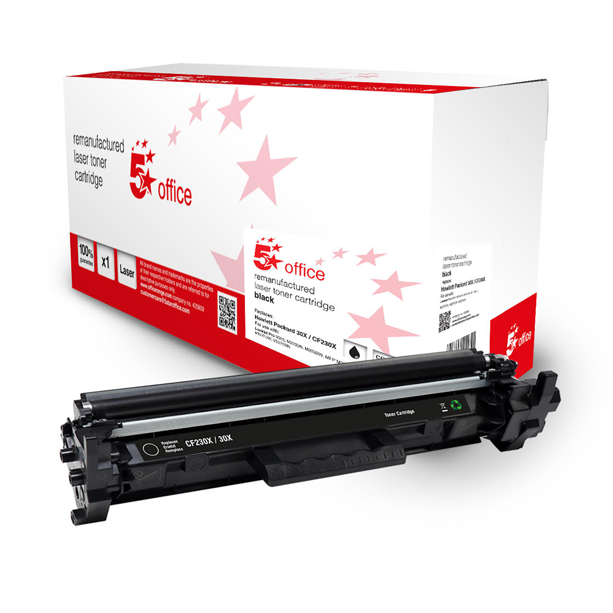 5 Star Office Remanufactured Toner Cartridge High Yield 3500pp Black HP 30X Alternative CF230X