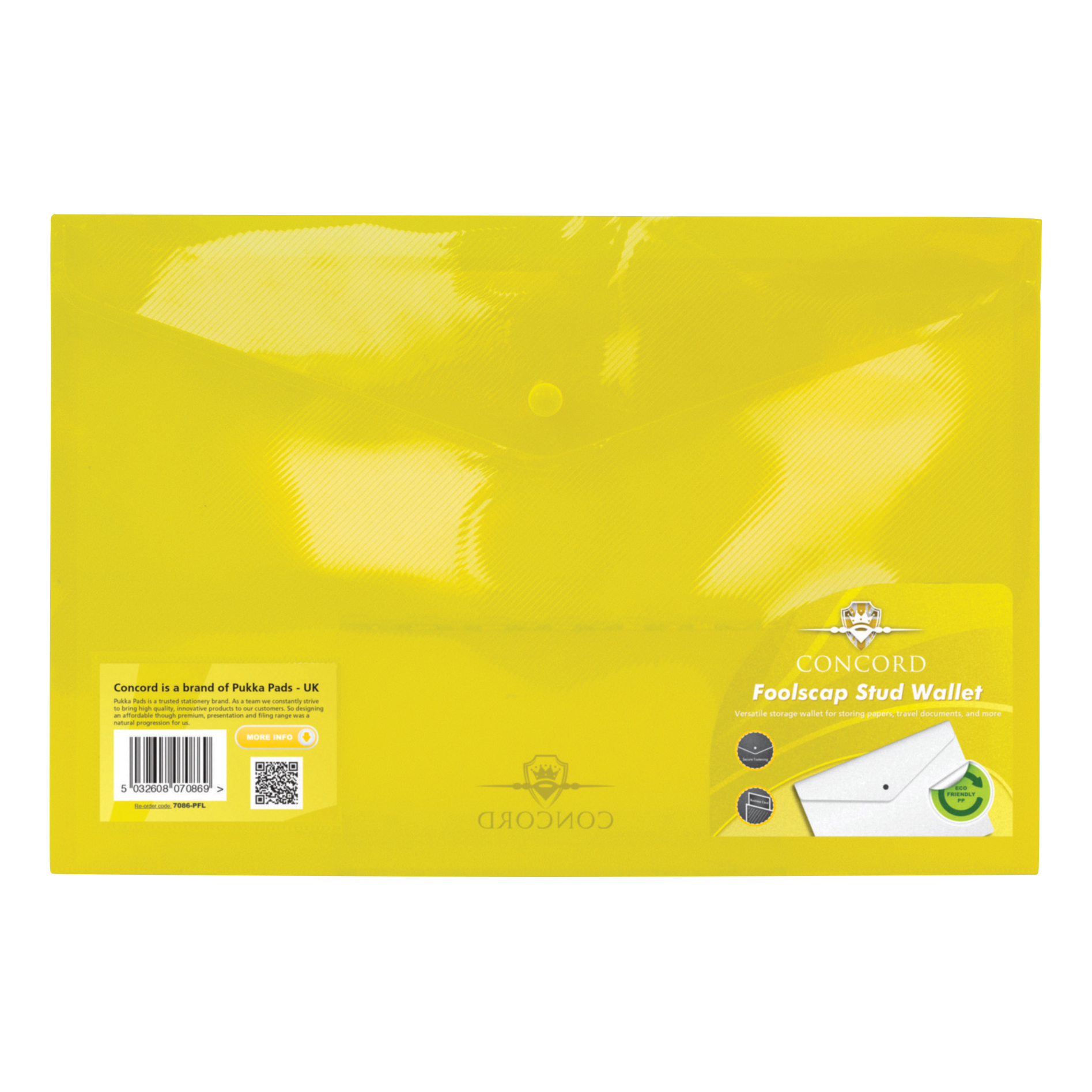 Concord Stud Wallet File Translucent Polypropylene Foolscap Yellow Ref 7086-PFL [Pack 5]