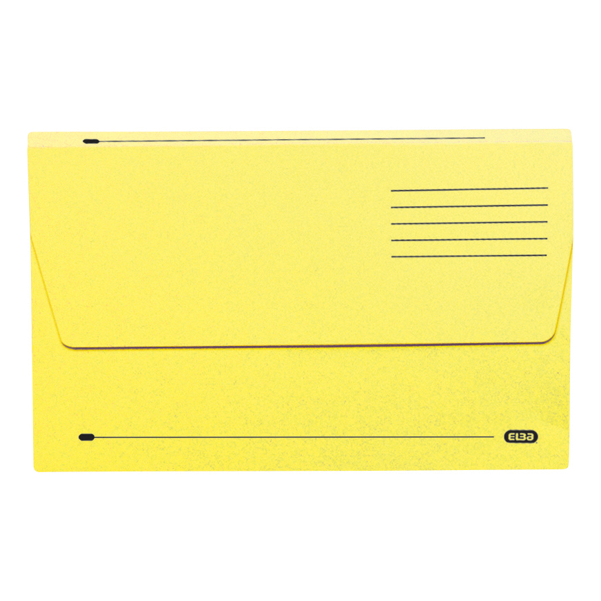 Elba Document Wallet Half Flap 285gsm Capacity 32mm Foolscap Yellow Ref 100090128 [Pack 50]