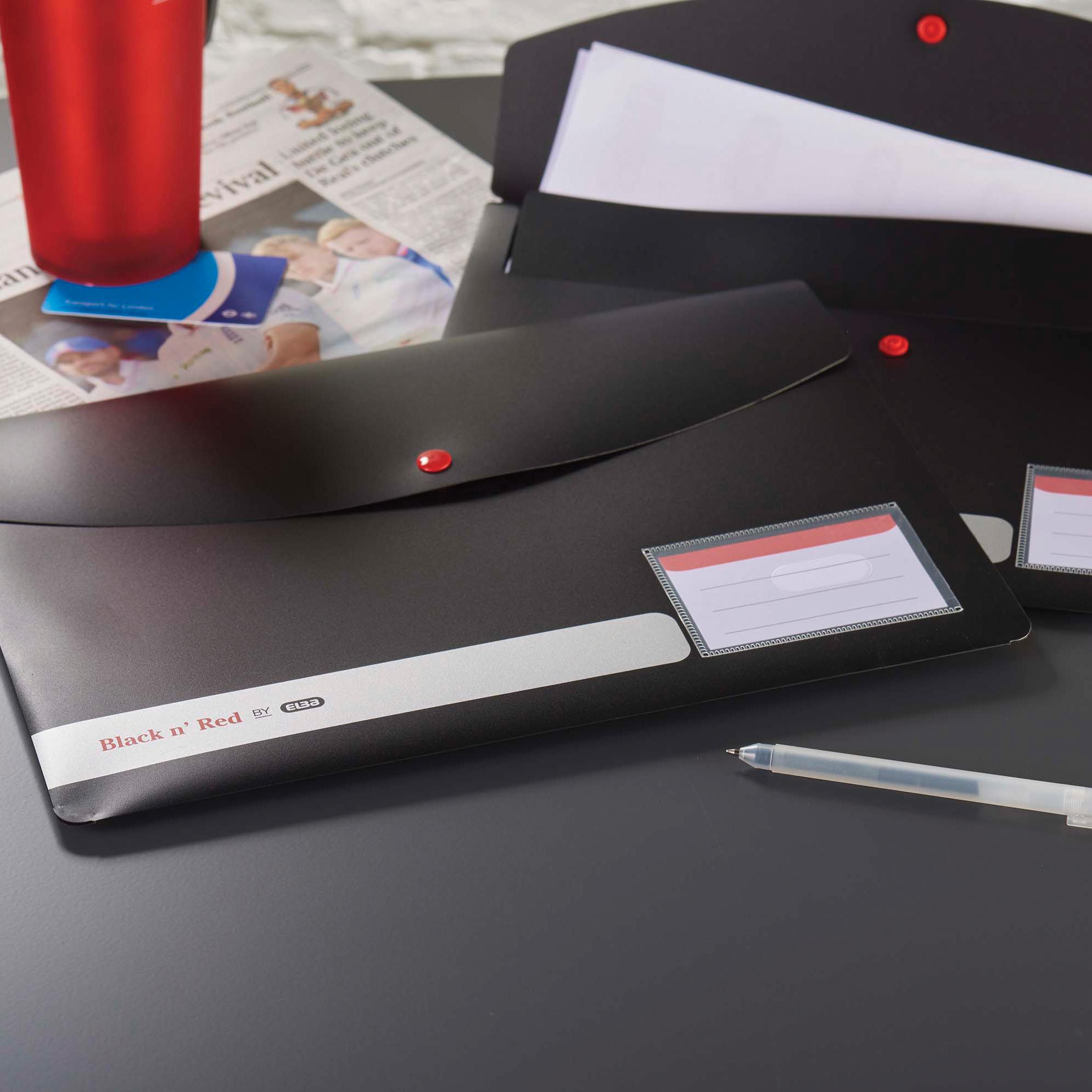 Black n Red by Elba Stud Wallet Polypropylene A4 Opaque Ref 400051532 [Pack 5]