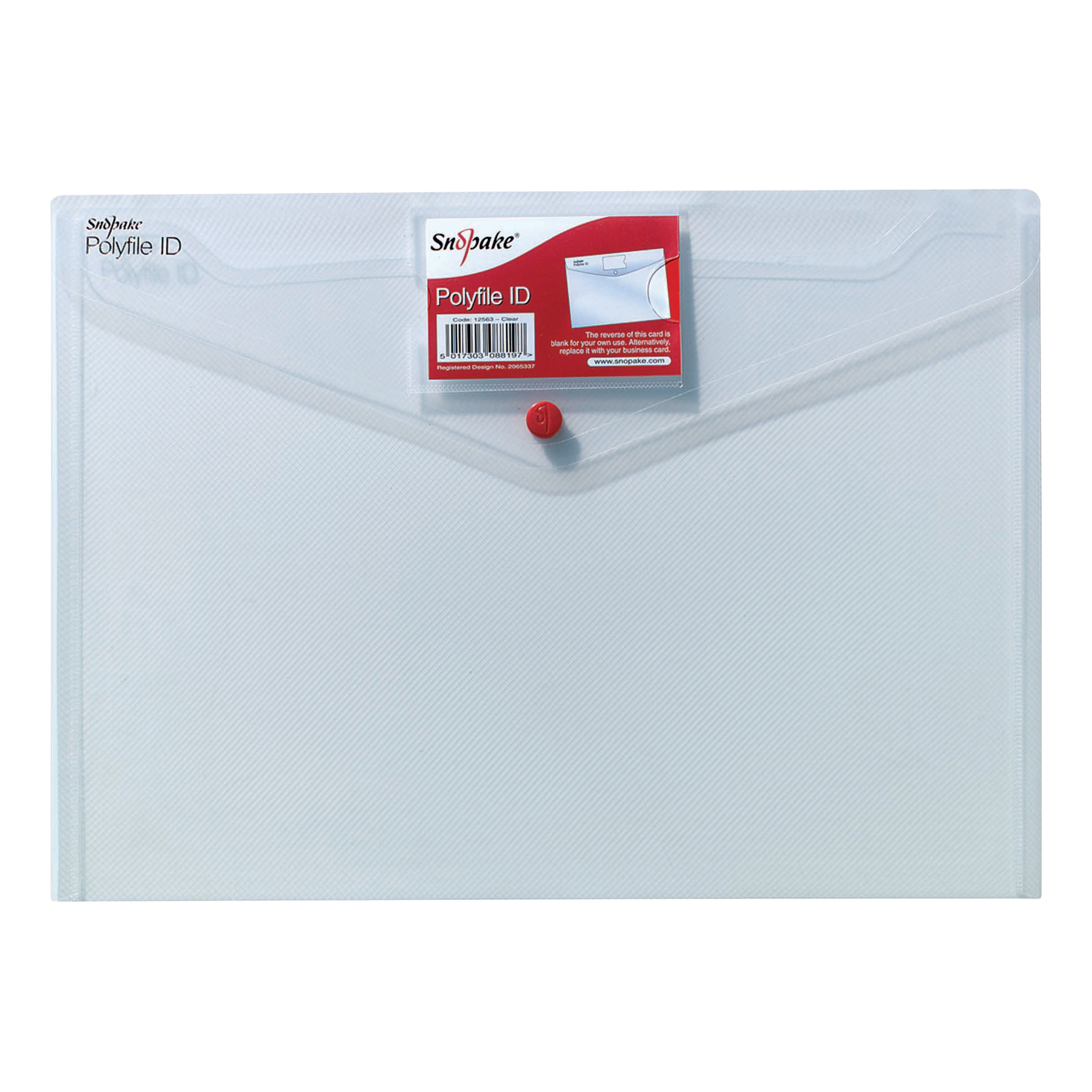 Snopake Polyfile ID Wallet File Polypropylene with Card Holder A4 Clear Ref 12560 Pack 5