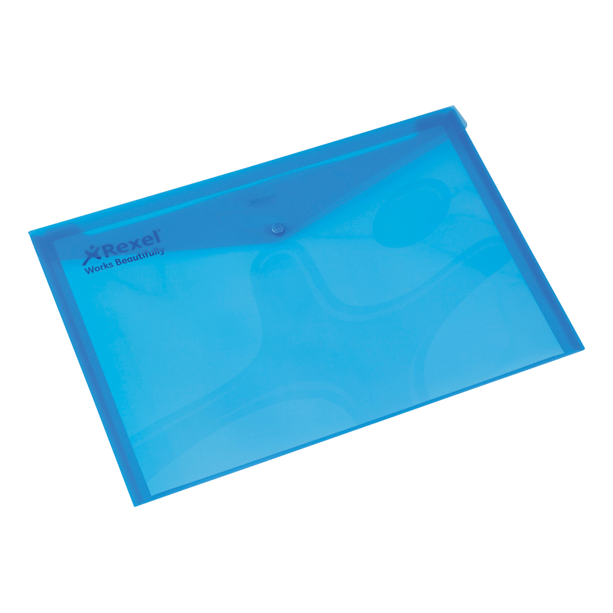 Rexel Popper Wallet Folder Polypropylene A4 Translucent Blue Ref 16129Bu Pack 5