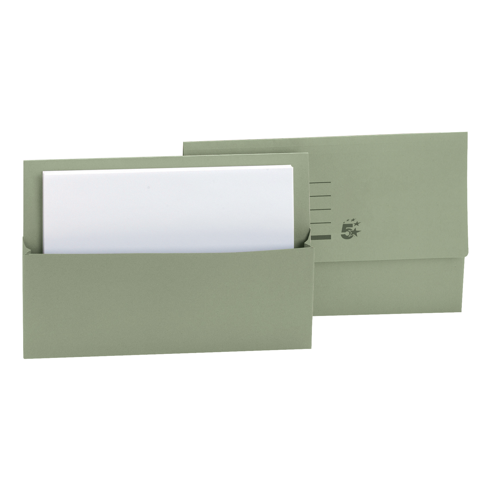 5 Star Office Document Wallet Half Flap 250gsm Recycled Capacity 32mm Foolscap Green Pack 50