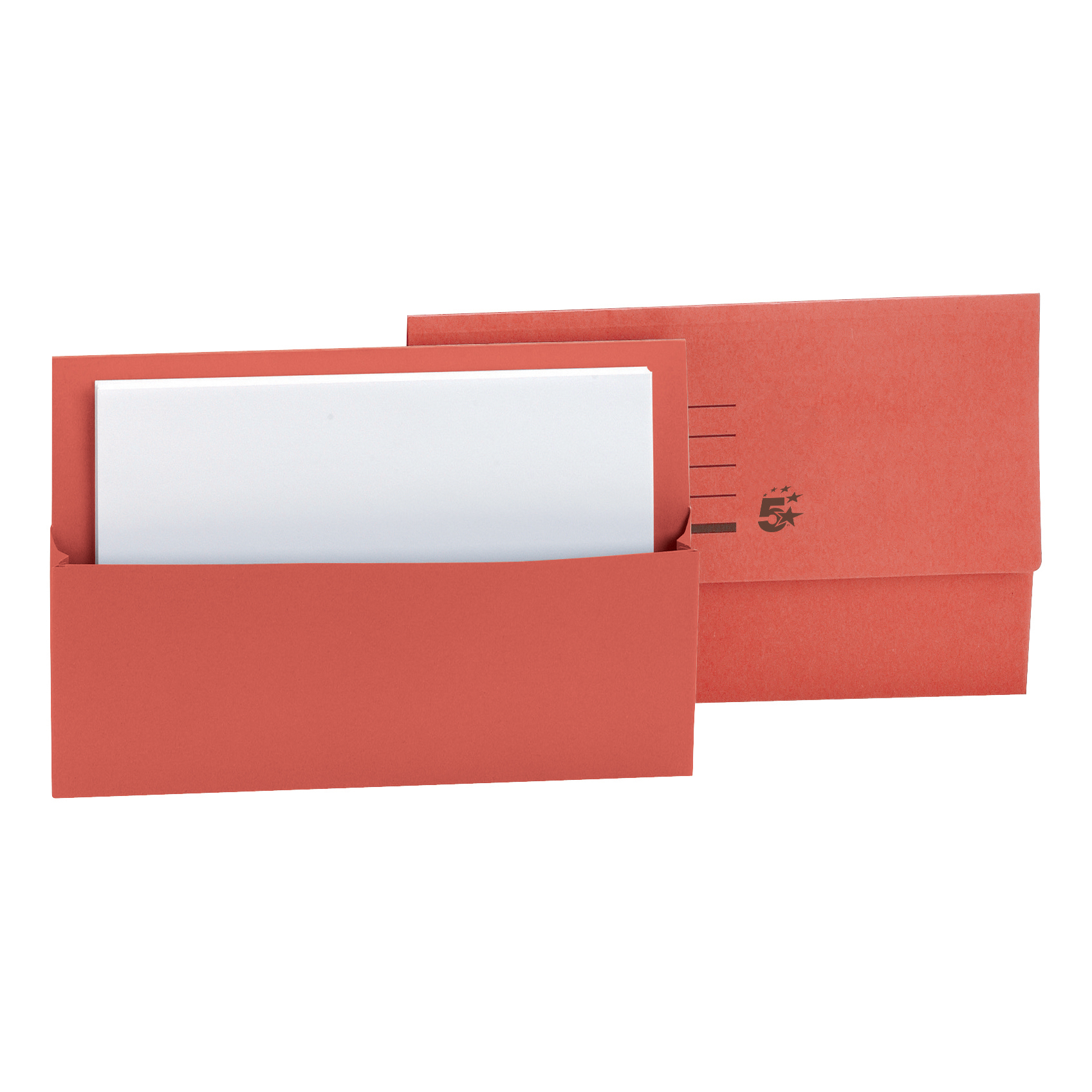 5 Star Office Document Wallet Half Flap 250gsm Recycled Capacity 32mm Foolscap Red Pack 50