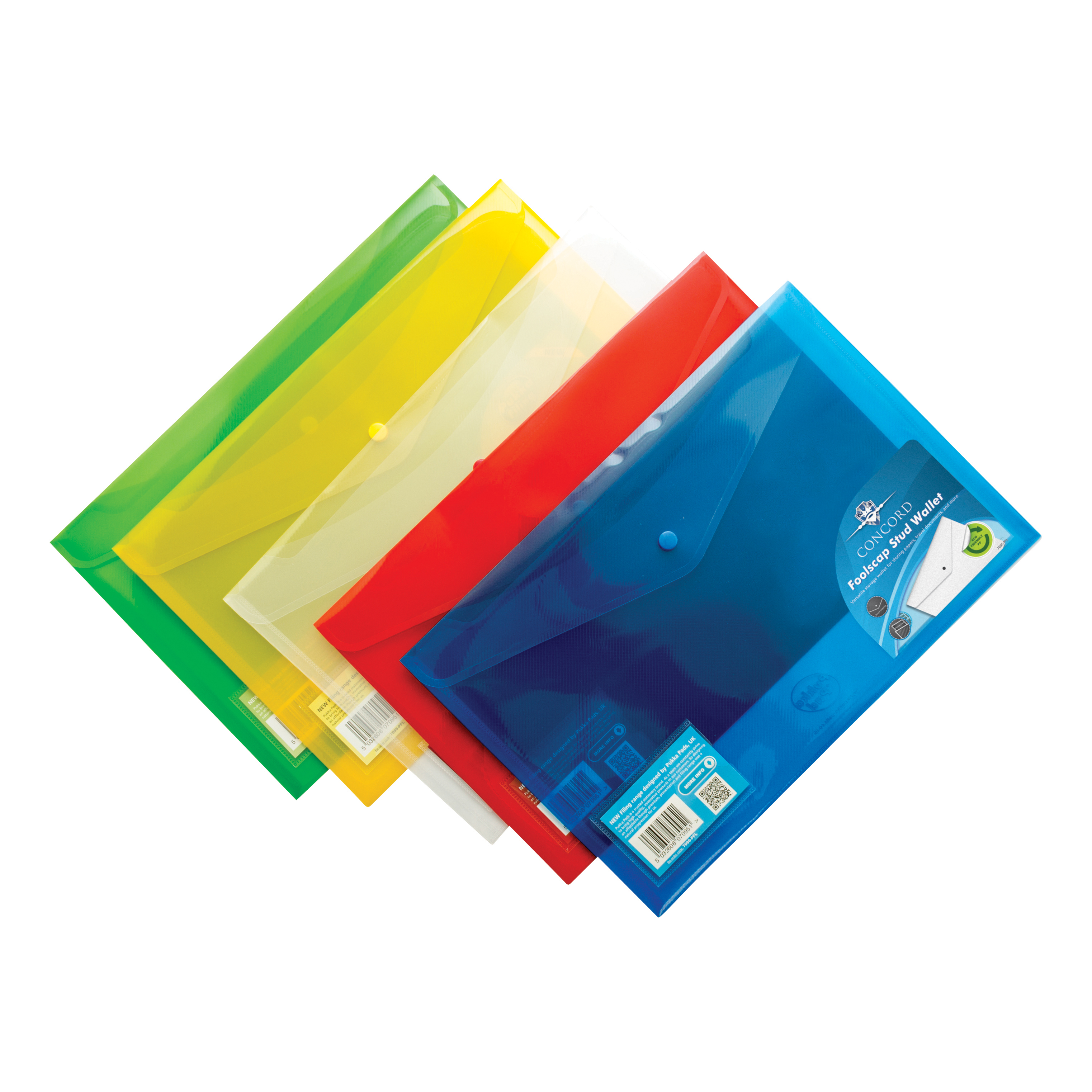 Concord Stud Wallet File Translucent Polypropylene Foolscap Assorted Ref 7095-PFL [Pack 5]