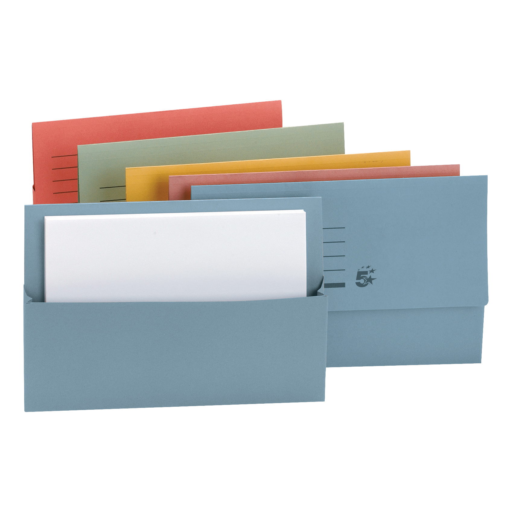 5 Star Office Document Wallet Half Flap 250gsm Recycled Capacity 32mm Foolscap Assorted Pack 50