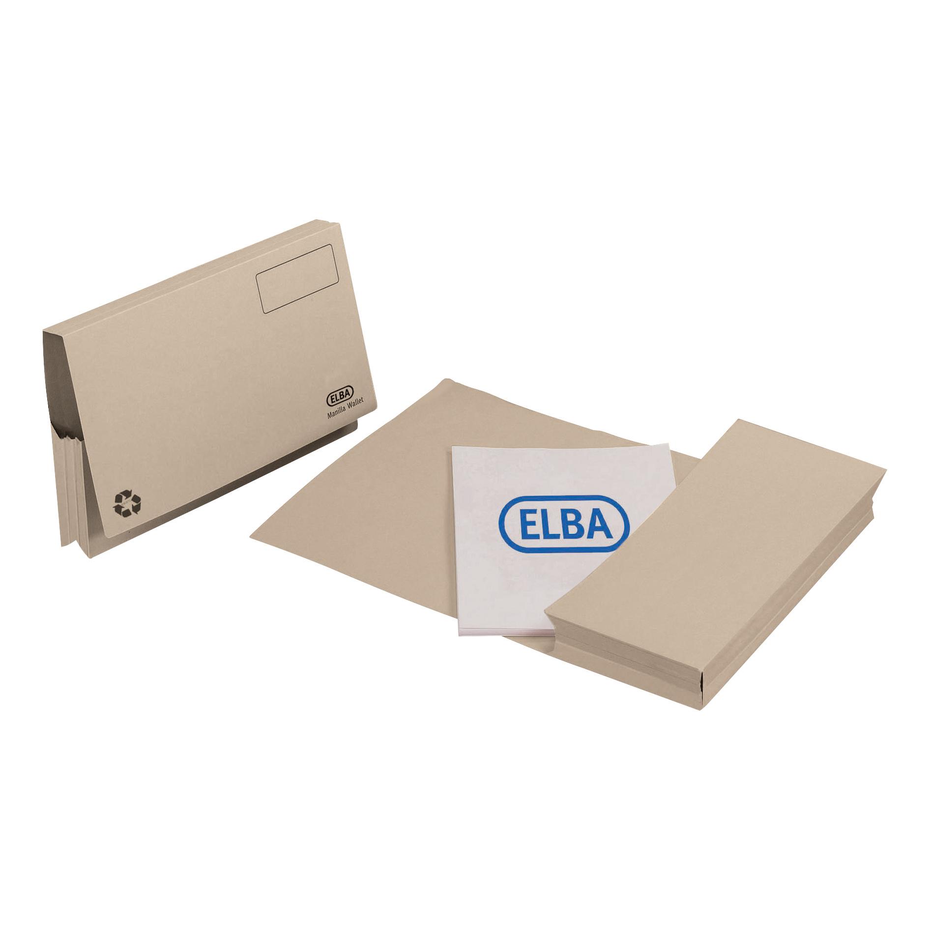 Elba Probate Wallets Full Flap Heavyweight Manilla 285gsm 65mm Foolscap Buff Ref 100090049 Pack 25